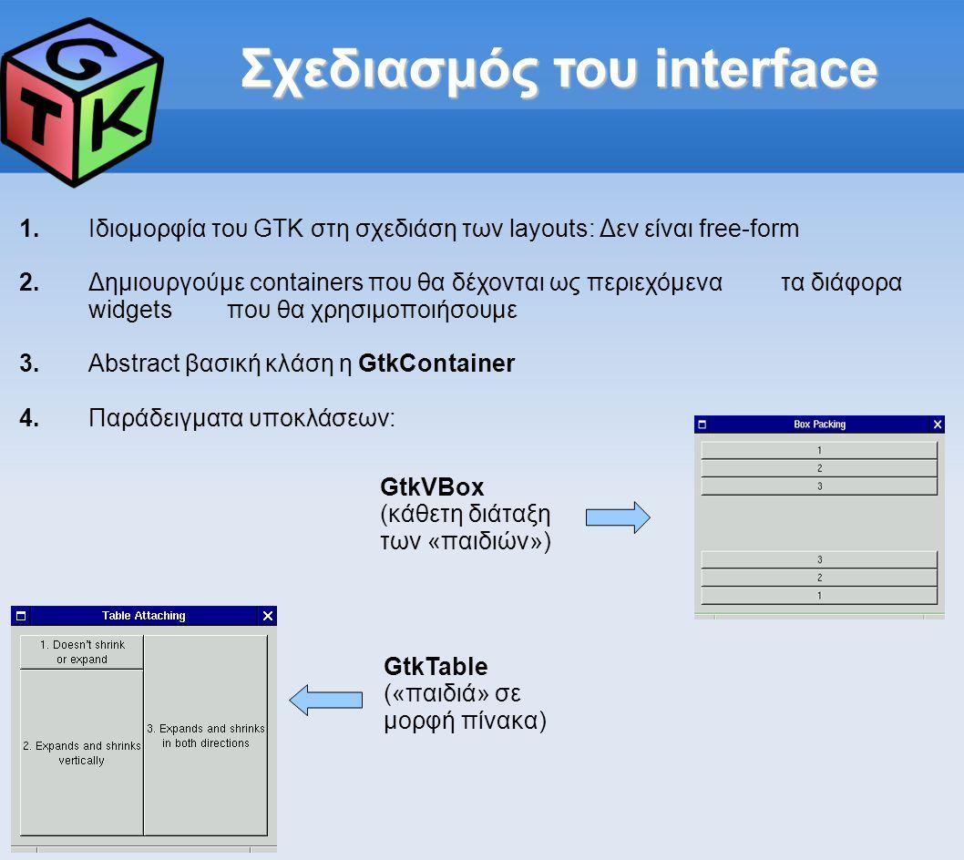 Σχεδιασμός του interface 1.Ιδιομορφία του GTK στη σχεδιάση των layouts: Δεν είναι free-form 2.Δημιουργούμε containers που θα δέχονται ως περιεχόμενα τα διάφορα widgets που θα χρησιμοποιήσουμε 3.Abstract βασική κλάση η GtkContainer 4.Παράδειγματα υποκλάσεων: GtkVBox (κάθετη διάταξη των «παιδιών») GtkTable («παιδιά» σε μορφή πίνακα)