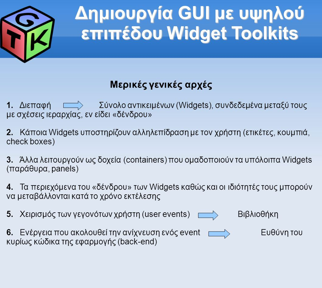 Δημιουργία GUI με υψηλού επιπέδου Widget Toolkits Μερικές γενικές αρχές 1.