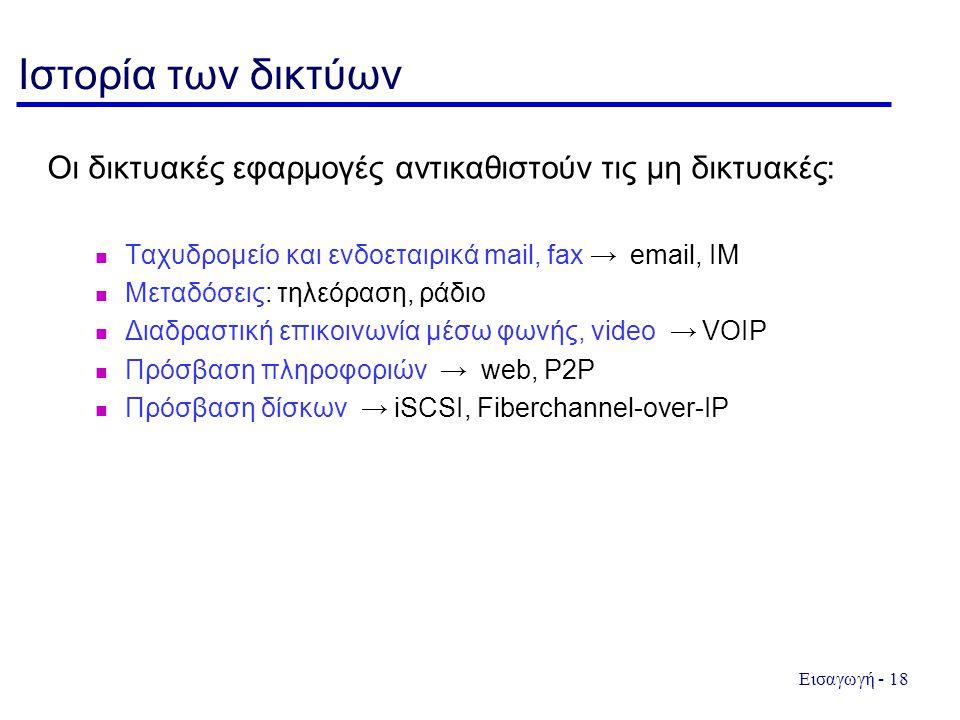 Εισαγωγή - 18 Ιστορία των δικτύων Οι δικτυακές εφαρμογές αντικαθιστούν τις μη δικτυακές: Ταχυδρομείο και ενδοεταιρικά mail, fax → email, IM Μεταδόσεις: τηλεόραση, ράδιο Διαδραστική επικοινωνία μέσω φωνής, video → VOIP Πρόσβαση πληροφοριών → web, P2P Πρόσβαση δίσκων → iSCSI, Fiberchannel-over-IP