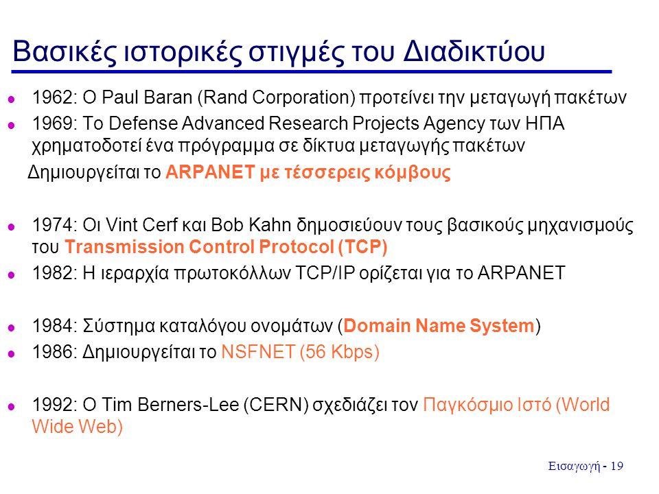 Εισαγωγή - 19 Βασικές ιστορικές στιγμές του Διαδικτύου 1962: Ο Paul Baran (Rand Corporation) προτείνει την μεταγωγή πακέτων 1969: Το Defense Advanced Research Projects Agency των ΗΠΑ χρηματοδοτεί ένα πρόγραμμα σε δίκτυα μεταγωγής πακέτων Δημιουργείται το ARPANET με τέσσερεις κόμβους 1974: Οι Vint Cerf και Bob Kahn δημοσιεύουν τους βασικούς μηχανισμούς του Transmission Control Protocol (TCP) 1982: Η ιεραρχία πρωτοκόλλων TCP/IP ορίζεται για το ARPANET 1984: Σύστημα καταλόγου ονομάτων (Domain Name System) 1986: Δημιουργείται το NSFNET (56 Kbps) 1992: Ο Tim Berners-Lee (CERN) σχεδιάζει τον Παγκόσμιο Ιστό (World Wide Web)