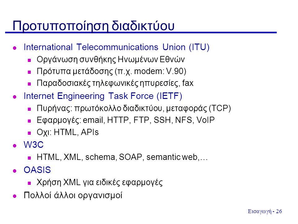 Εισαγωγή - 26 Προτυποποίηση διαδικτύου International Telecommunications Union (ITU) Οργάνωση συνθήκης Ηνωμένων Εθνών Πρότυπα μετάδοσης (π.χ.