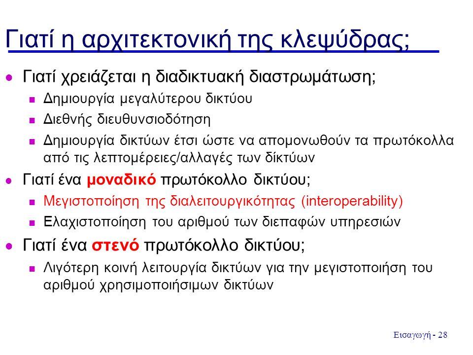 Εισαγωγή - 28 Γιατί η αρχιτεκτονική της κλεψύδρας; Γιατί χρειάζεται η διαδικτυακή διαστρωμάτωση; Δημιουργία μεγαλύτερου δικτύου Διεθνής διευθυνσιοδότηση Δημιουργία δικτύων έτσι ώστε να απομονωθούν τα πρωτόκολλα από τις λεπτομέρειες/αλλαγές των δίκτύων Γιατί ένα μοναδικό πρωτόκολλο δικτύου; Μεγιστοποίηση της διαλειτουργικότητας (interoperability) Ελαχιστοποίηση του αριθμού των διεπαφών υπηρεσιών Γιατί ένα στενό πρωτόκολλο δικτύου; Λιγότερη κοινή λειτουργία δικτύων για την μεγιστοποιήση του αριθμού χρησιμοποιήσιμων δικτύων