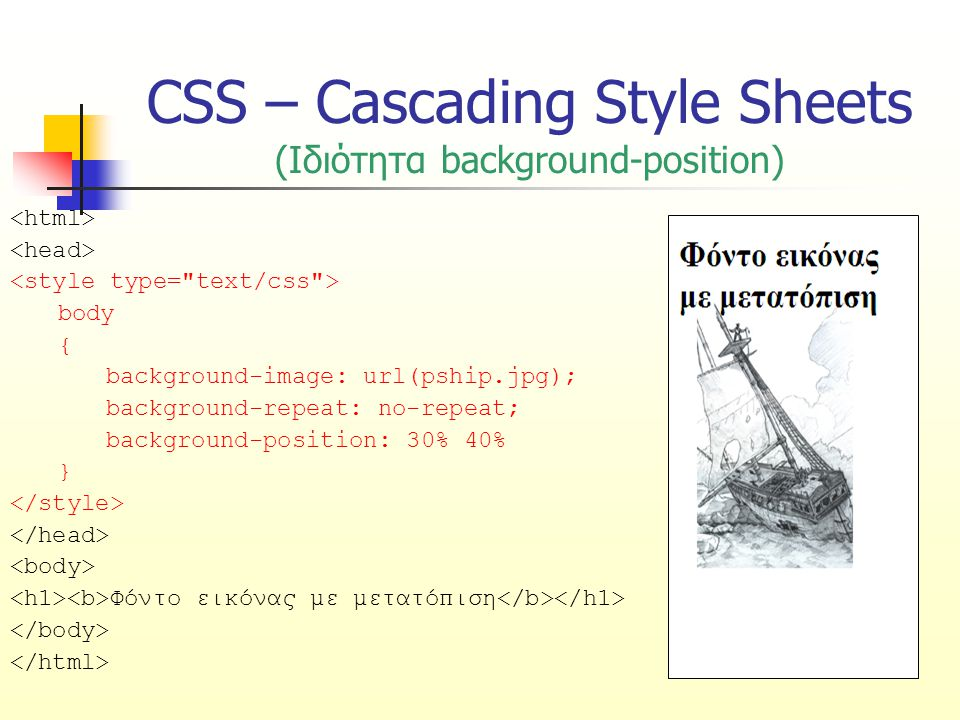 CSS – Cascading Style Sheets (Ιδιότητα background-position) body { background-image: url(pship.jpg); background-repeat: no-repeat; background-position: 30% 40% } Φόντο εικόνας με μετατόπιση