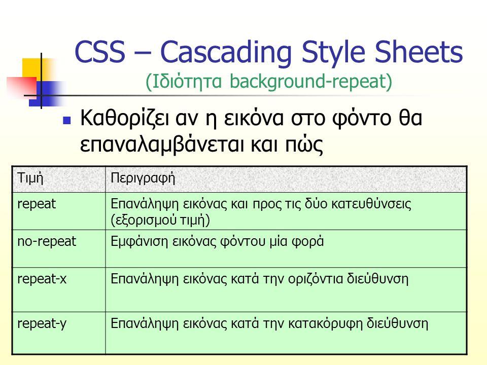CSS – Cascading Style Sheets (Ιδιότητα background-repeat) Καθορίζει αν η εικόνα στο φόντο θα επαναλαμβάνεται και πώς ΤιμήΠεριγραφή repeatΕπανάληψη εικ
