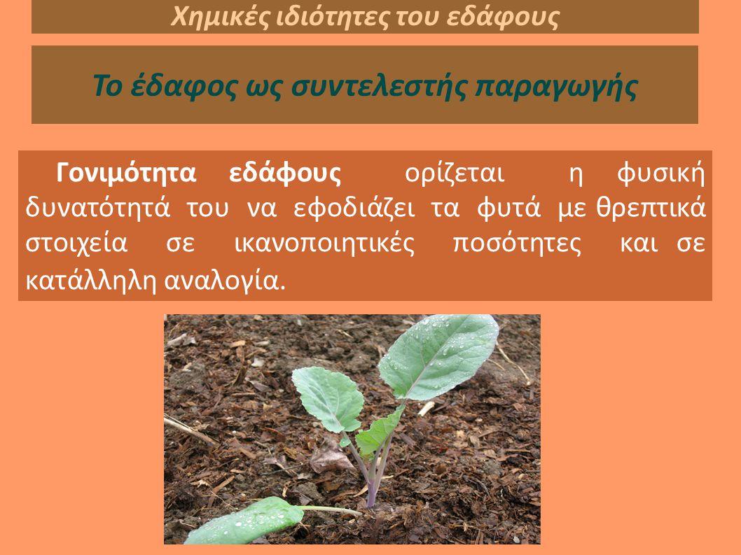 Χημικές ιδιότητες του εδάφους Το έδαφος ως συντελεστής παραγωγής Γονιμότητα εδάφους ορίζεται η φυσική δυνατότητά του να εφοδιάζει τα φυτά με θρεπτικά στοιχεία σε ικανοποιητικές ποσότητες και σε κατάλληλη αναλογία.