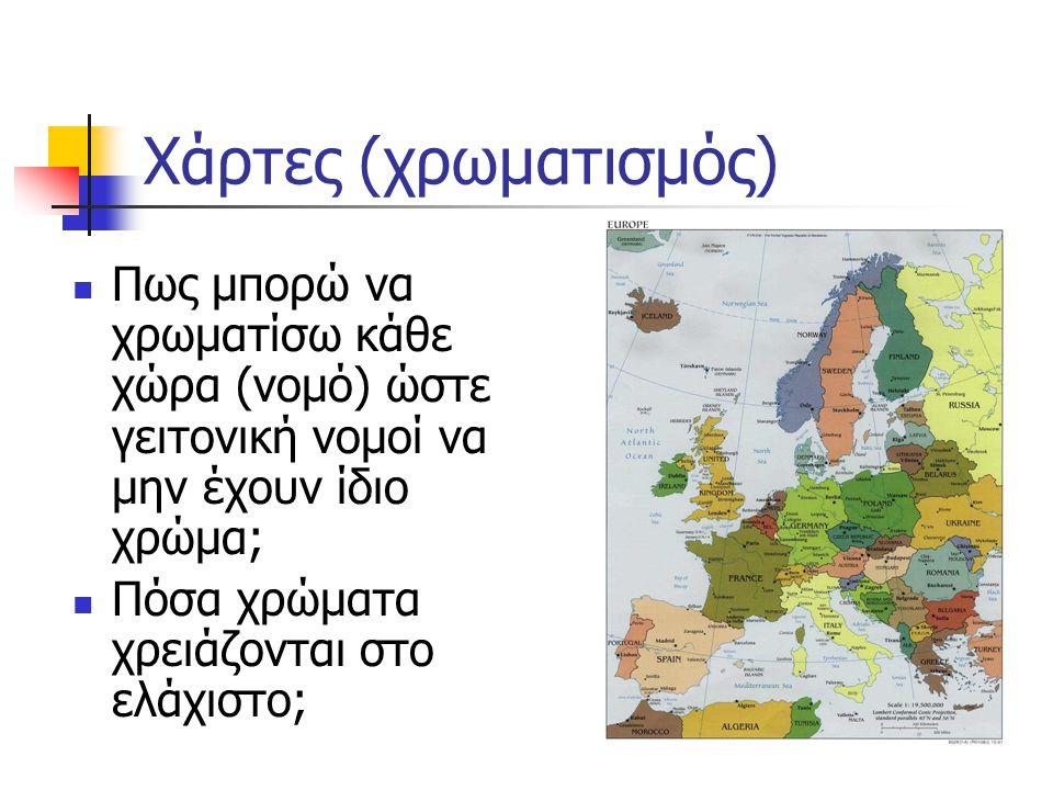 Χάρτες (χρωματισμός) Πως μπορώ να χρωματίσω κάθε χώρα (νομό) ώστε γειτονική νομοί να μην έχουν ίδιο χρώμα; Πόσα χρώματα χρειάζονται στο ελάχιστο;