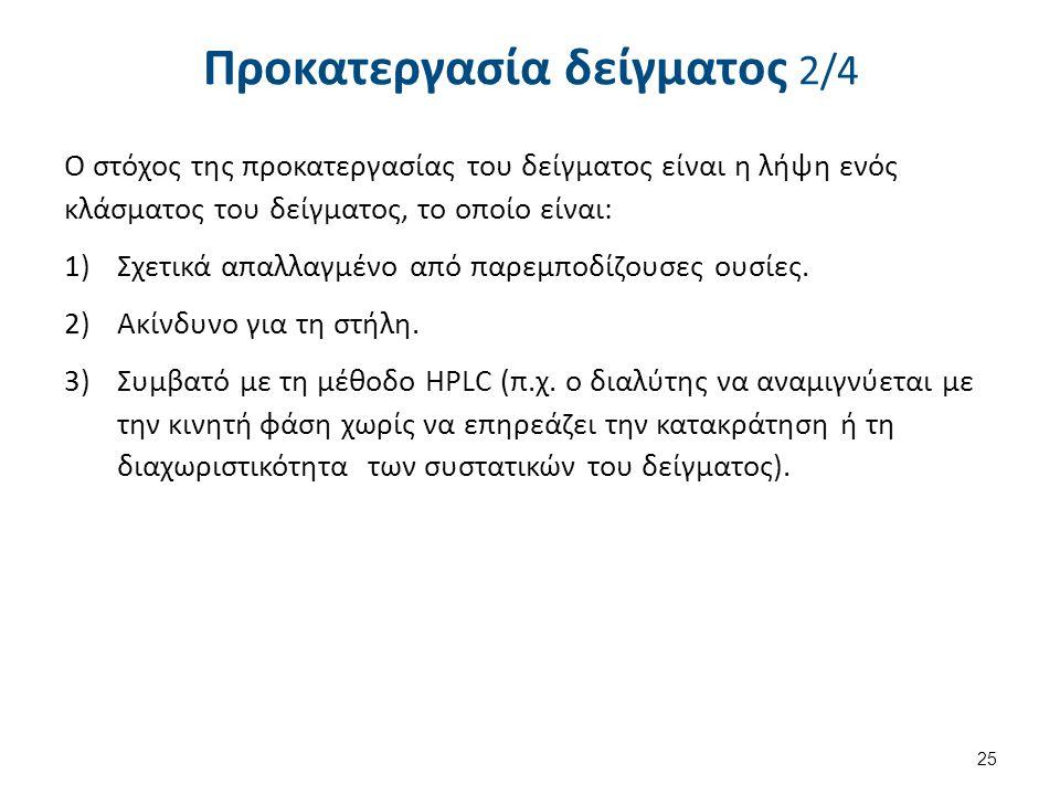 Ο στόχος της προκατεργασίας του δείγματος είναι η λήψη ενός κλάσματος του δείγματος, το οποίο είναι: 1)Σχετικά απαλλαγμένο από παρεμποδίζουσες ουσίες.