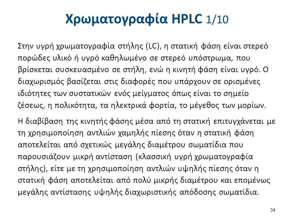 Χρωματογραφία HPLC 1/10 Στην υγρή χρωματογραφία στήλης (LC), η στατική φάση είναι στερεό πορώδες υλικό ή υγρό καθηλωμένο σε στερεό υπόστρωμα, που βρίσ