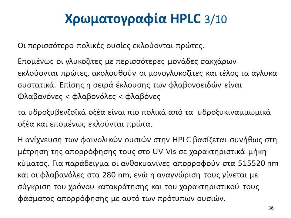 Χρωματογραφία HPLC 3/10 Οι περισσότερο πολικές ουσίες εκλούονται πρώτες. Επομένως οι γλυκοζίτες με περισσότερες μονάδες σακχάρων εκλούονται πρώτες, ακ