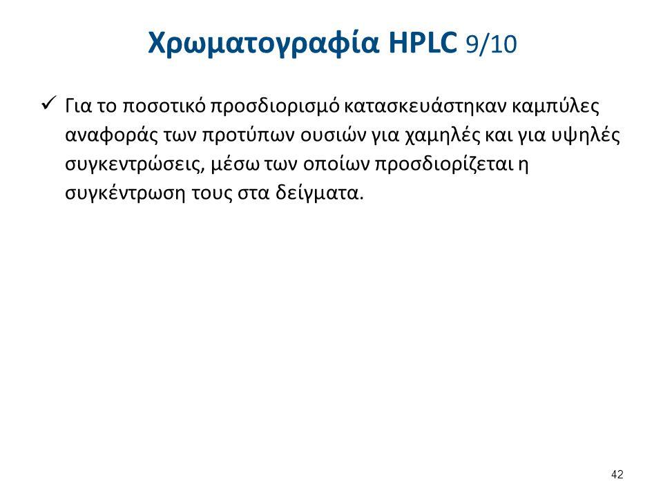 Χρωματογραφία HPLC 9/10 Για το ποσοτικό προσδιορισμό κατασκευάστηκαν καμπύλες αναφοράς των προτύπων ουσιών για χαμηλές και για υψηλές συγκεντρώσεις, μ