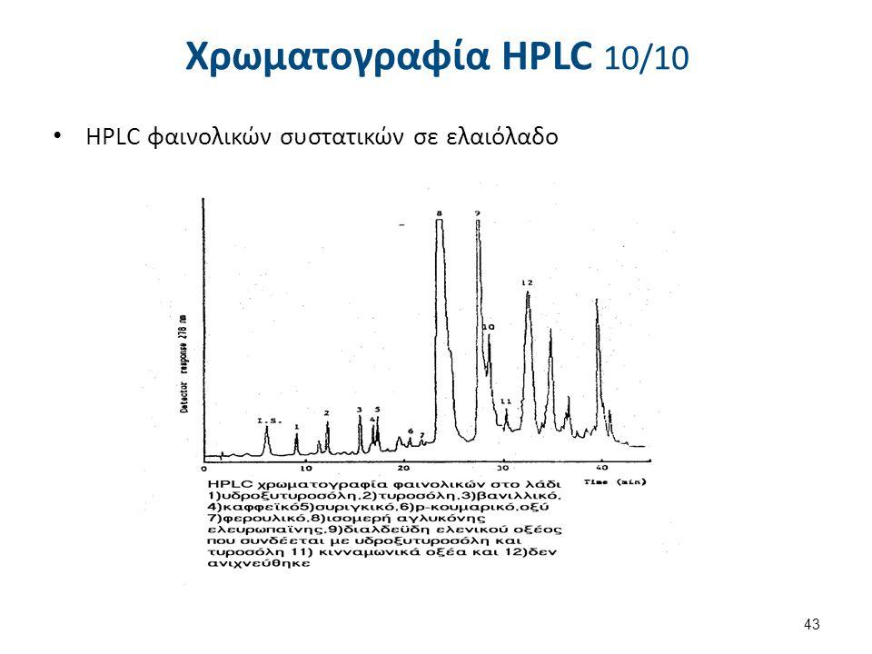 Χρωματογραφία HPLC 10/10 ΗPLC φαινολικών συστατικών σε ελαιόλαδο 43