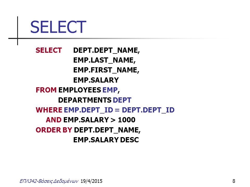 ΕΠΛ342-Βάσεις Δεδομένων 19/4/20158 SELECT SELECT DEPT.DEPT_NAME, EMP.LAST_NAME, EMP.FIRST_NAME, EMP.SALARY FROM EMPLOYEES EMP, DEPARTMENTS DEPT WHERE EMP.DEPT_ID = DEPT.DEPT_ID AND EMP.SALARY > 1000 ORDER BY DEPT.DEPT_NAME, EMP.SALARY DESC