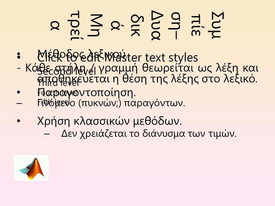 Click to edit Master text styles Second level Third level Fourth level Fifth level Συμ πίε ση– Δυα δικ ά Μη τρεί α Μέθοδος λεξικού.