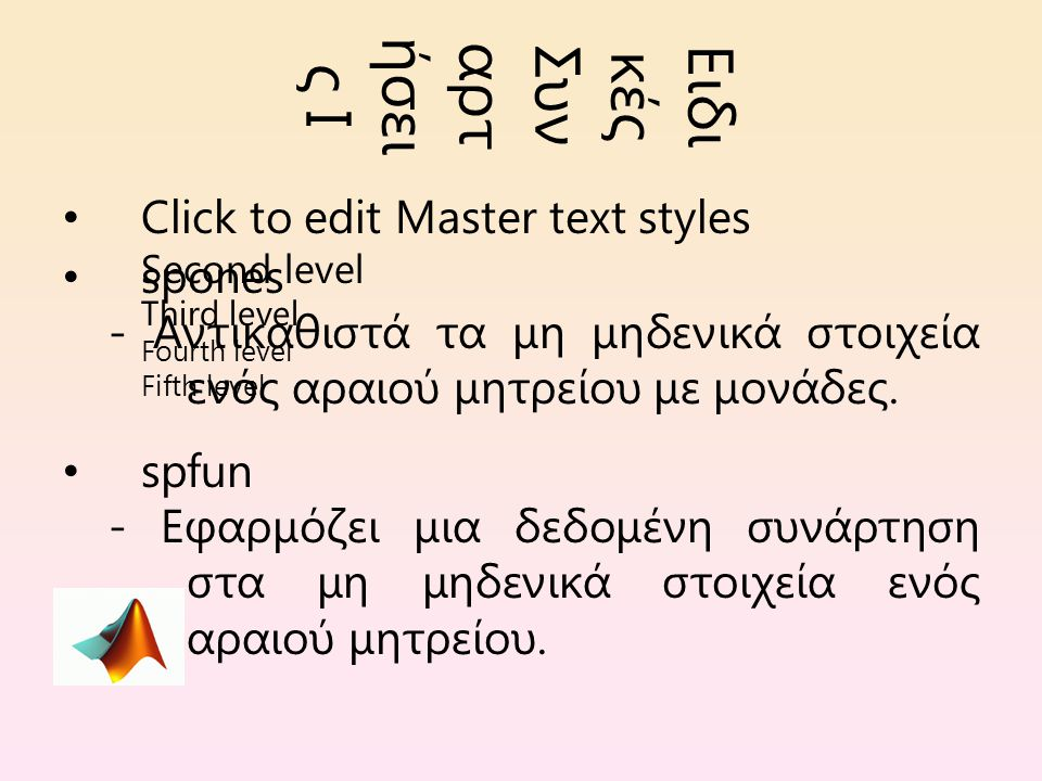 Click to edit Master text styles Second level Third level Fourth level Fifth level Ειδι κές Συν αρτ ήσει ς Ι spones - Αντικαθιστά τα μη μηδενικά στοιχεία ενός αραιού μητρείου με μονάδες.