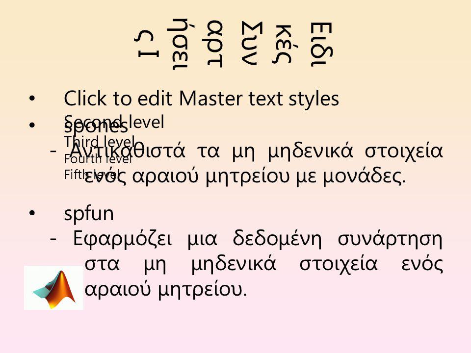Click to edit Master text styles Second level Third level Fourth level Fifth level Ειδι κές Συν αρτ ήσει ς Ι spones - Αντικαθιστά τα μη μηδενικά στοιχεία ενός αραιού μητρείου με μονάδες.