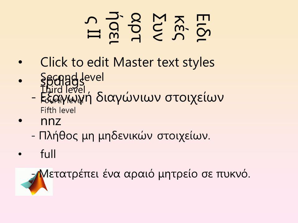Click to edit Master text styles Second level Third level Fourth level Fifth level Ειδι κές Συν αρτ ήσει ς ΙΙ spdiags - Εξαγωγή διαγώνιων στοιχείων nnz - Πλήθος μη μηδενικών στοιχείων.