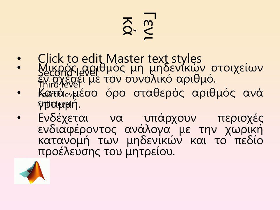 Click to edit Master text styles Second level Third level Fourth level Fifth level Γενι κά Μικρός αριθμός μη μηδενικών στοιχείων εν σχέσει με τον συνολικό αριθμό.