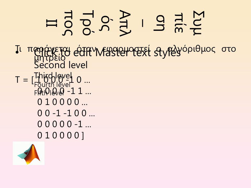 Click to edit Master text styles Second level Third level Fourth level Fifth level Συμ πίε ση – Απλ ός Τρό πος ΙΙ Τι παράγεται όταν εφαρμοστεί ο αλγόριθμος στο μητρείο T = [ 1 0 0 0 -1 0...