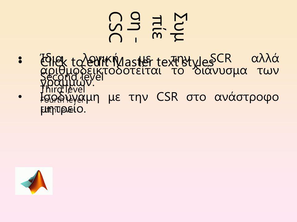 Click to edit Master text styles Second level Third level Fourth level Fifth level Συμ πίε ση - CSC Ίδια λογική με την SCR αλλά αριθμοδεικτοδοτείται το διάνυσμα των γραμμών.