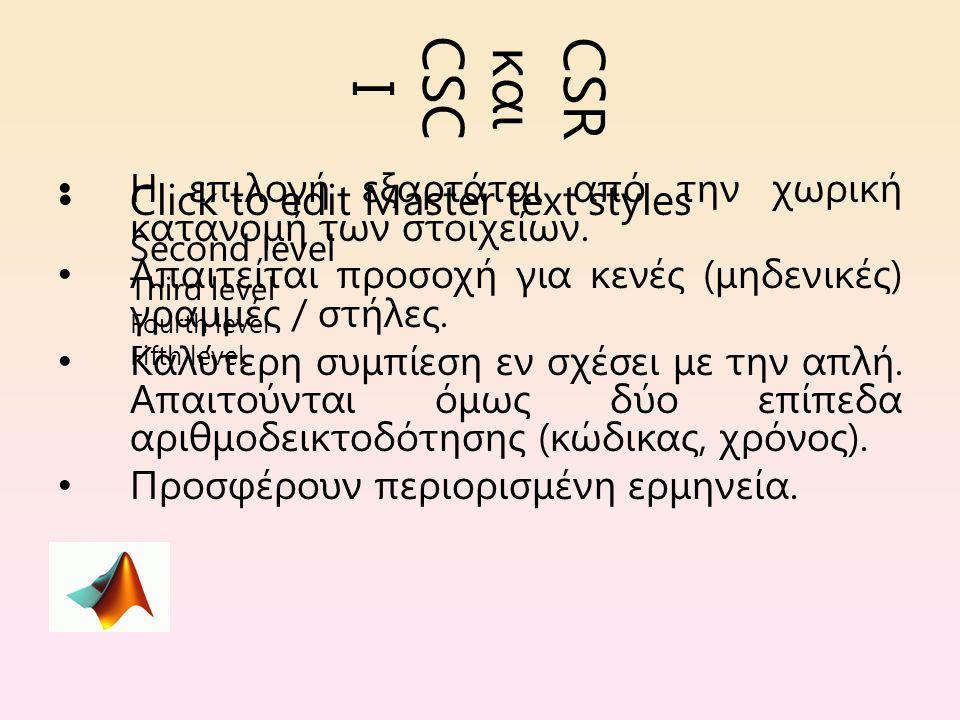 Click to edit Master text styles Second level Third level Fourth level Fifth level CSR και CSC II Τι παράγεται όταν εφαρμόζονται οι csr και csc στο μητρείο T = [1 0 0 0 -1 0...
