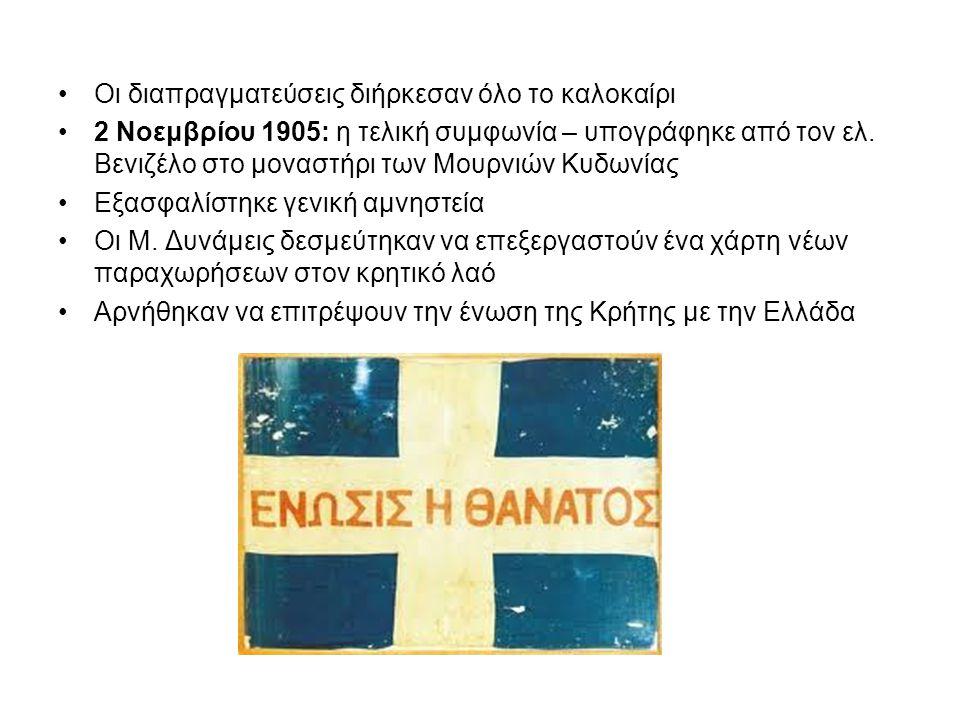 Οι διαπραγματεύσεις διήρκεσαν όλο το καλοκαίρι 2 Νοεμβρίου 1905: η τελική συμφωνία – υπογράφηκε από τον ελ.