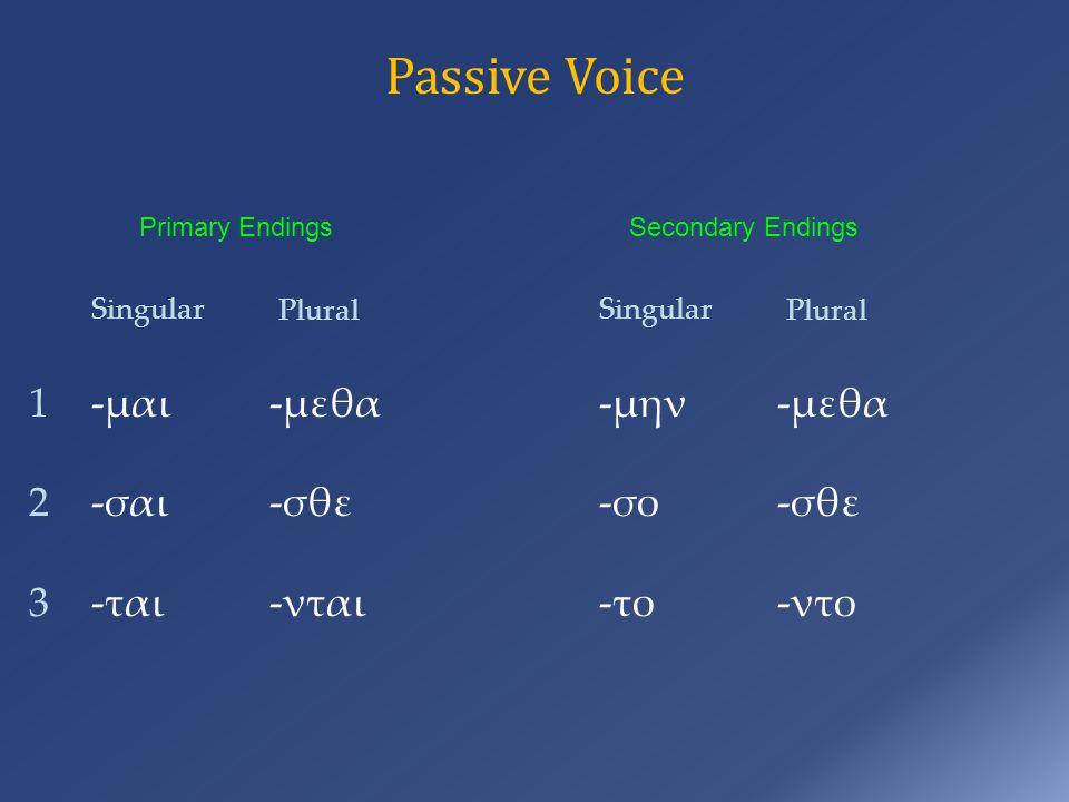 Passive Voice Primary Endings -μαι -σαι -ται -μεθα -σθε -νται 123123 Singular Plural Secondary Endings -μην -σο -το -μεθα -σθε -ντο Singular Plural