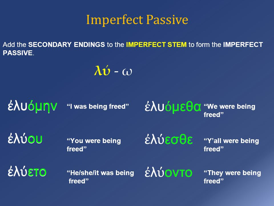 Imperfect Passive Add the SECONDARY ENDINGS to the IMPERFECT STEM to form the IMPERFECT PASSIVE.