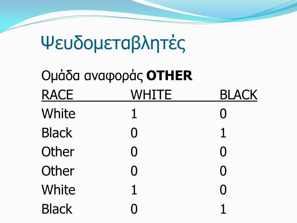 Ψευδομεταβλητές Ομάδα αναφοράς OTHER RACEWHITEBLACK White10 Black01 Other00 White10 Black01