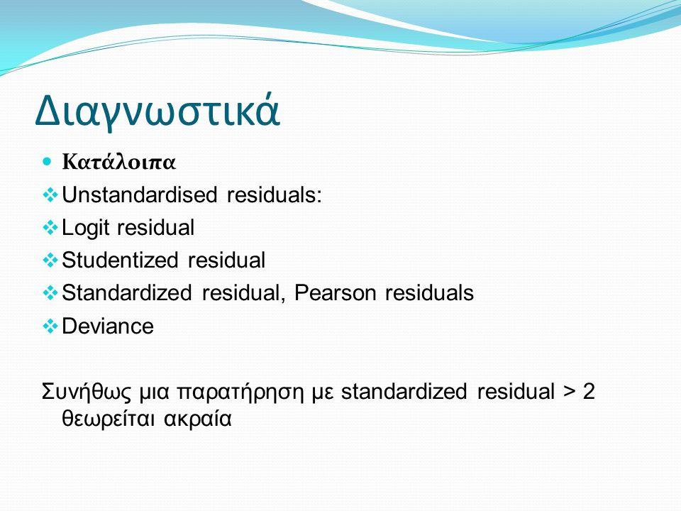 Διαγνωστικά Κατάλοιπα  Unstandardised residuals:  Logit residual  Studentized residual  Standardized residual, Pearson residuals  Deviance Συνήθως μια παρατήρηση με standardized residual > 2 θεωρείται ακραία