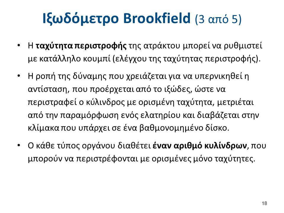 Ιξωδόμετρο Brookfield (3 από 5) Η ταχύτητα περιστροφής της ατράκτου μπορεί να ρυθμιστεί με κατάλληλο κουμπί (ελέγχου της ταχύτητας περιστροφής). Η ροπ
