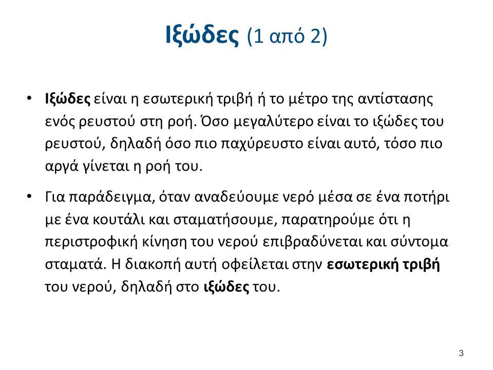 Ιξώδες (2 από 2) Ως Ιξώδες μπορεί να θεωρηθεί η ικανότητα ενός ρευστού να αντιστέκεται σε παραμορφωτικές δυνάμεις και συγκεκριμένα σε διατμητικές τάσεις.