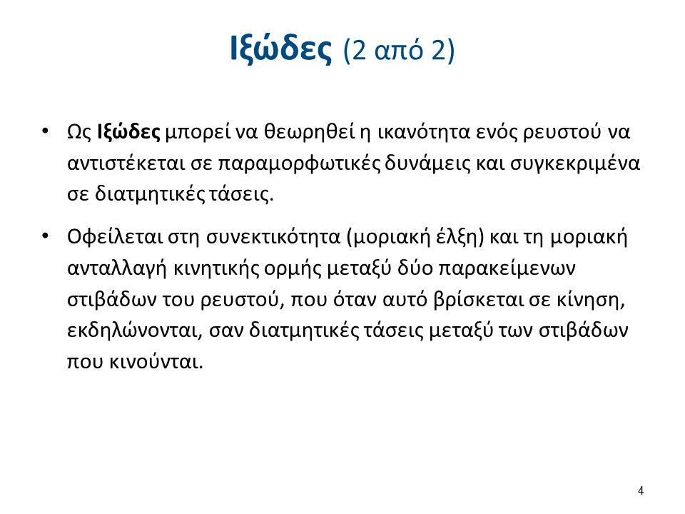 Ιξώδες (2 από 2) Ως Ιξώδες μπορεί να θεωρηθεί η ικανότητα ενός ρευστού να αντιστέκεται σε παραμορφωτικές δυνάμεις και συγκεκριμένα σε διατμητικές τάσε