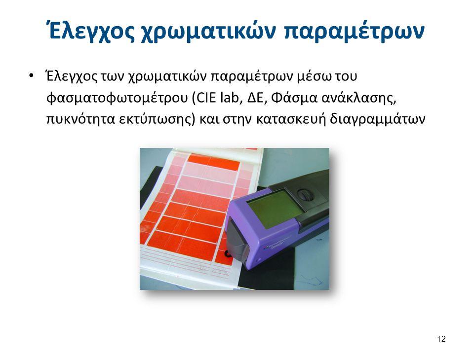 Έλεγχος χρωματικών παραμέτρων Έλεγχος των χρωματικών παραμέτρων μέσω του φασματοφωτομέτρου (CIE lab, ΔΕ, Φάσμα ανάκλασης, πυκνότητα εκτύπωσης) και στην κατασκευή διαγραμμάτων 12