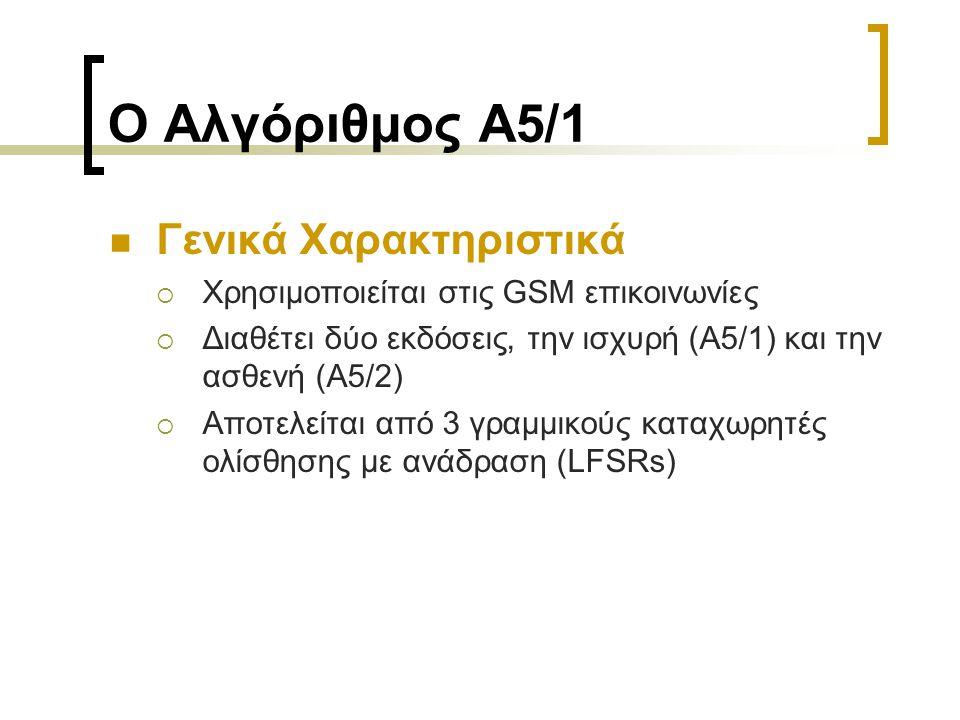 Ο Αλγόριθμος A5/1 Γενικά Χαρακτηριστικά  Χρησιμοποιείται στις GSM επικοινωνίες  Διαθέτει δύο εκδόσεις, την ισχυρή (A5/1) και την ασθενή (A5/2)  Αποτελείται από 3 γραμμικούς καταχωρητές ολίσθησης με ανάδραση (LFSRs)