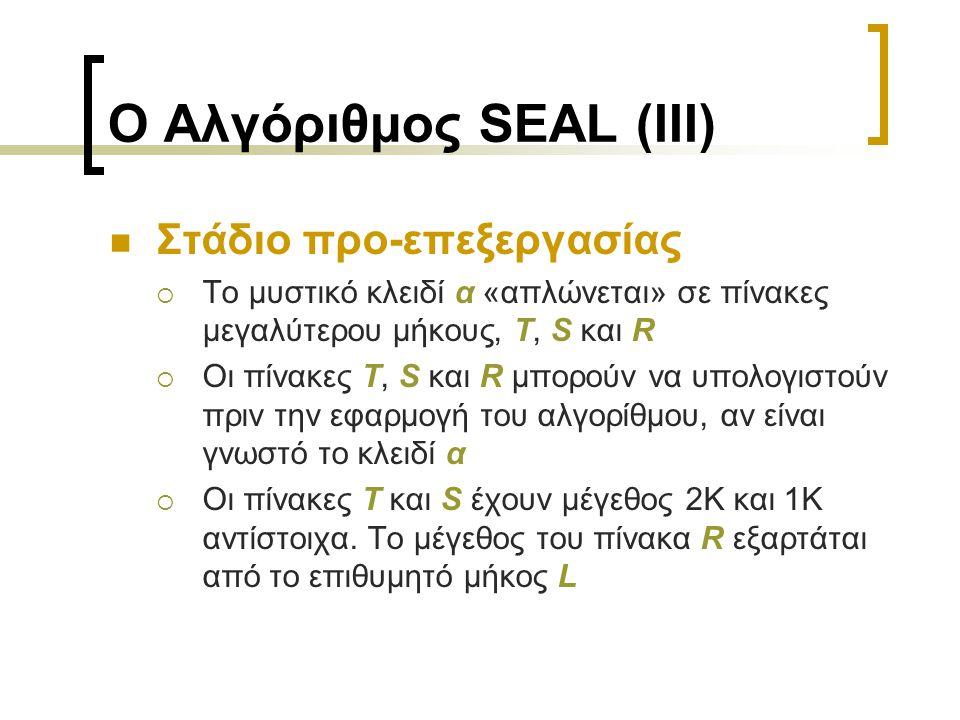 Ο Αλγόριθμος SEAL (IIΙ) Στάδιο προ-επεξεργασίας  Το μυστικό κλειδί α «απλώνεται» σε πίνακες μεγαλύτερου μήκους, T, S και R  Οι πίνακες T, S και R μπορούν να υπολογιστούν πριν την εφαρμογή του αλγορίθμου, αν είναι γνωστό το κλειδί α  Οι πίνακες T και S έχουν μέγεθος 2Κ και 1Κ αντίστοιχα.