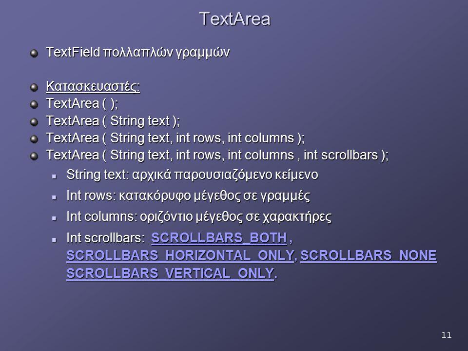 11TextArea TextField πολλαπλών γραμμών Κατασκευαστές: TextArea ( ); TextArea ( String text ); TextArea ( String text, int rows, int columns ); TextAre