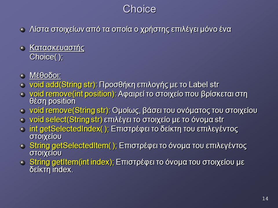 14Choice Λίστα στοιχείων από τα οποία ο χρήστης επιλέγει μόνο ένα Κατασκευαστής Choice( ); Μέθοδοι: void add(String str): Προσθήκη επιλογής με το Label str void remove(int position): Αφαιρεί το στοιχείο που βρίσκεται στη θέση position void remove(String str): Ομοίως, βάσει του ονόματος του στοιχείου void select(String str) επιλέγει το στοιχείο με το όνομα str int getSelectedIndex( ); Επιστρέφει το δείκτη του επιλεγέντος στοιχείου String getSelectedItem( ); Επιστρέφει το όνομα του επιλεγέντος στοιχείου String getItem(int index); Επιστρέφει το όνομα του στοιχείου με δείκτη index.