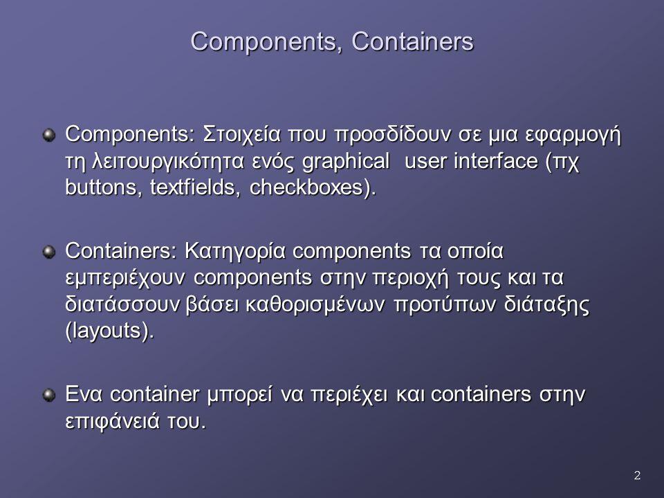 33 Ιεραρχία EventClasses java.lang.Object java.util.EventObject java.awt.AWTEvent ActionEvent ItemEvent ComponentEvent AdjustmentEvent ContainerEvent FocusEvent PaintEvent WindowEvent InputEvent KeyEvent MouseEvent