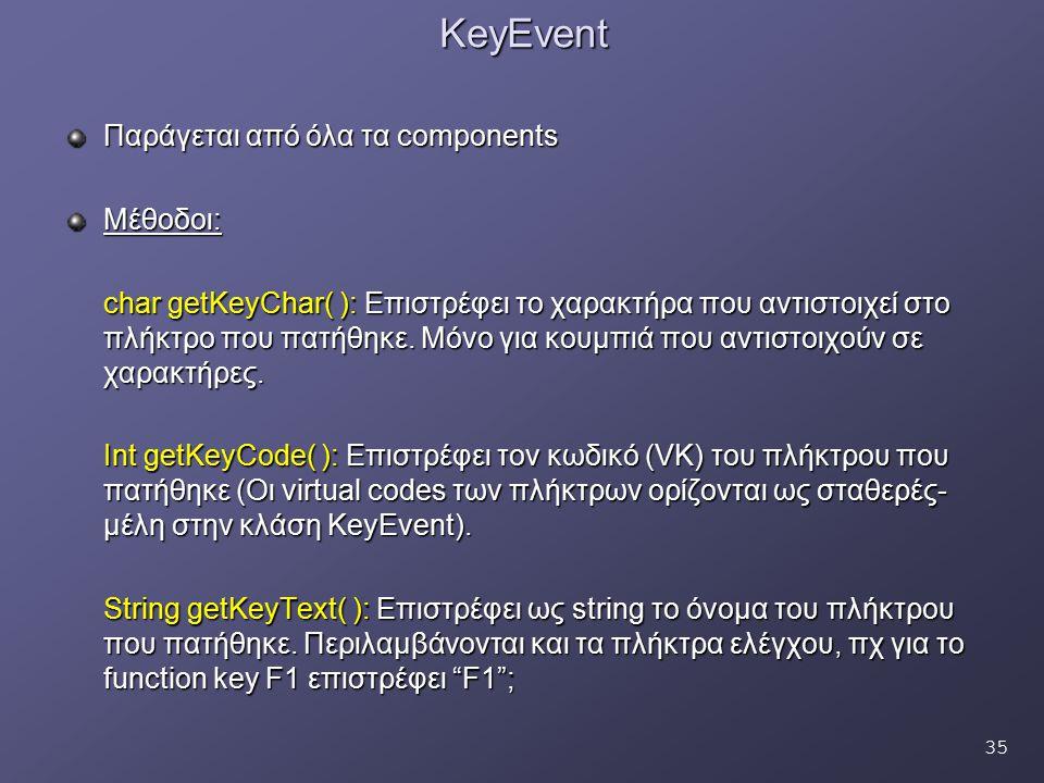 35KeyEvent Παράγεται από όλα τα components Μέθοδοι: char getKeyChar( ): Επιστρέφει το χαρακτήρα που αντιστοιχεί στο πλήκτρο που πατήθηκε. Μόνο για κου