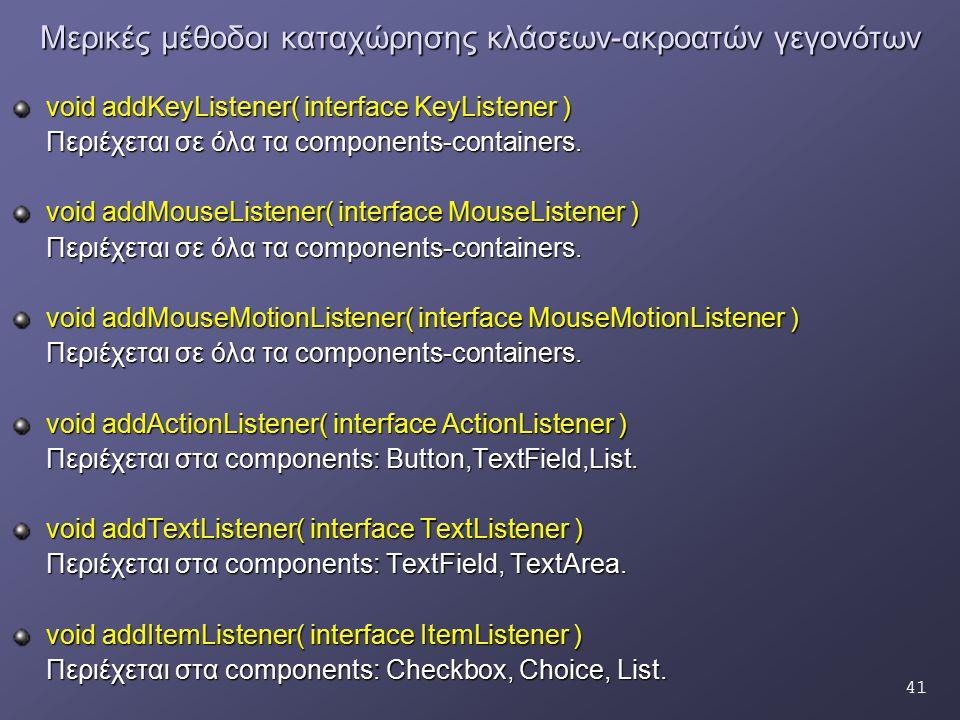 41 Μερικές μέθοδοι καταχώρησης κλάσεων-ακροατών γεγονότων void addKeyListener( interface KeyListener ) Περιέχεται σε όλα τα components-containers. voi