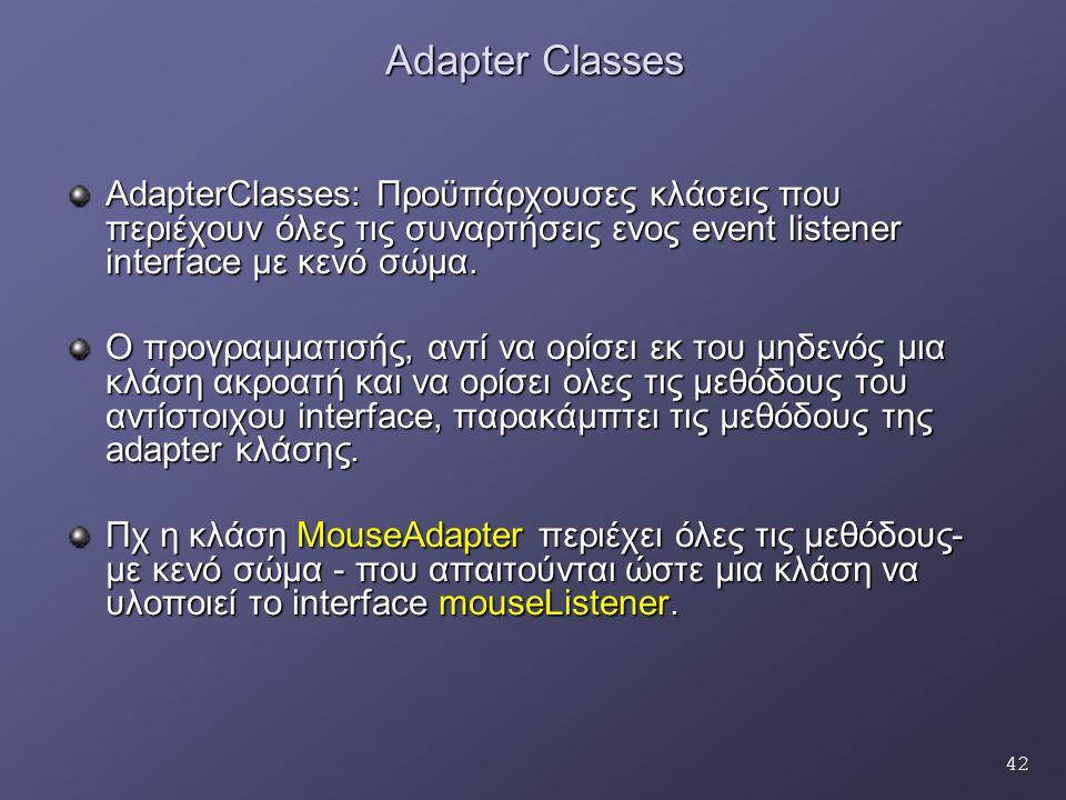 42 Adapter Classes AdapterClasses: Προϋπάρχουσες κλάσεις που περιέχουν όλες τις συναρτήσεις ενος event listener interface με κενό σώμα. Ο προγραμματισ