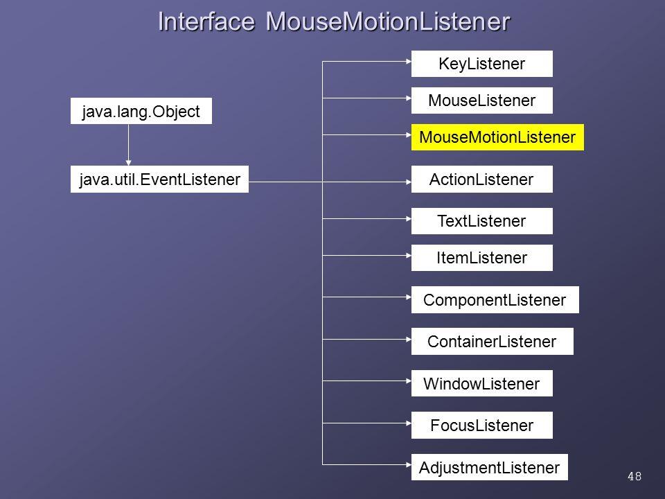 48 Interface MouseMotionListener ActionListener AdjustmentListener ComponentListener ContainerListener FocusListener ItemListener KeyListener MouseLis