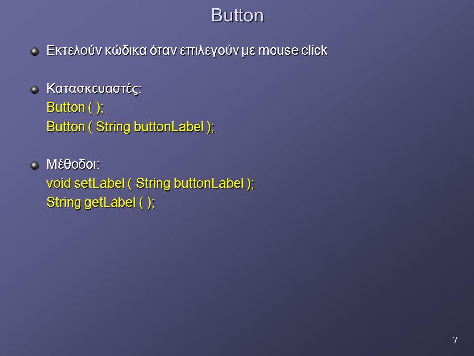 58 Παράδειγμα δήλωσης χωρίς τη χρήση inline κλάσεων-διαχειριστών Button a=new Button( OK ); Class A implements ActionListener( ) { public void actionPerformed(ActionEvent evt) { Handling code for action event on OK button here… } } a.addActionListener( new A); Button b=new Button( Cancel ); Button b=new Button( Cancel ); Class B implements ActionListener( ) Class B implements ActionListener( ){ public void actionPerformed(ActionEvent evt) { Handling code for action event on Cancel button here… } } b.addActionListener( new A);