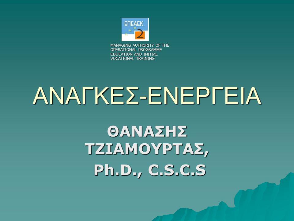 ΑΝΑΓΚΕΣ-ΕΝΕΡΓΕΙΑ ΘΑΝΑΣΗΣ ΤΖΙΑΜΟΥΡΤΑΣ, Ph.D., C.S.C.S Ph.D., C.S.C.S MANAGING AUTHORITY OF THE OPERATIONAL PROGRAMME EDUCATION AND INITIAL VOCATIONAL TRAINING