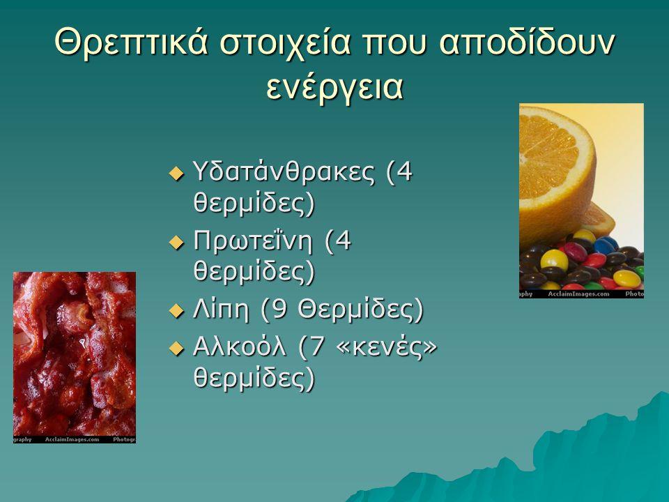Θρεπτικά στοιχεία που αποδίδουν ενέργεια  Υδατάνθρακες (4 θερμίδες)  Πρωτεΐνη (4 θερμίδες)  Λίπη (9 Θερμίδες)  Αλκοόλ (7 «κενές» θερμίδες)