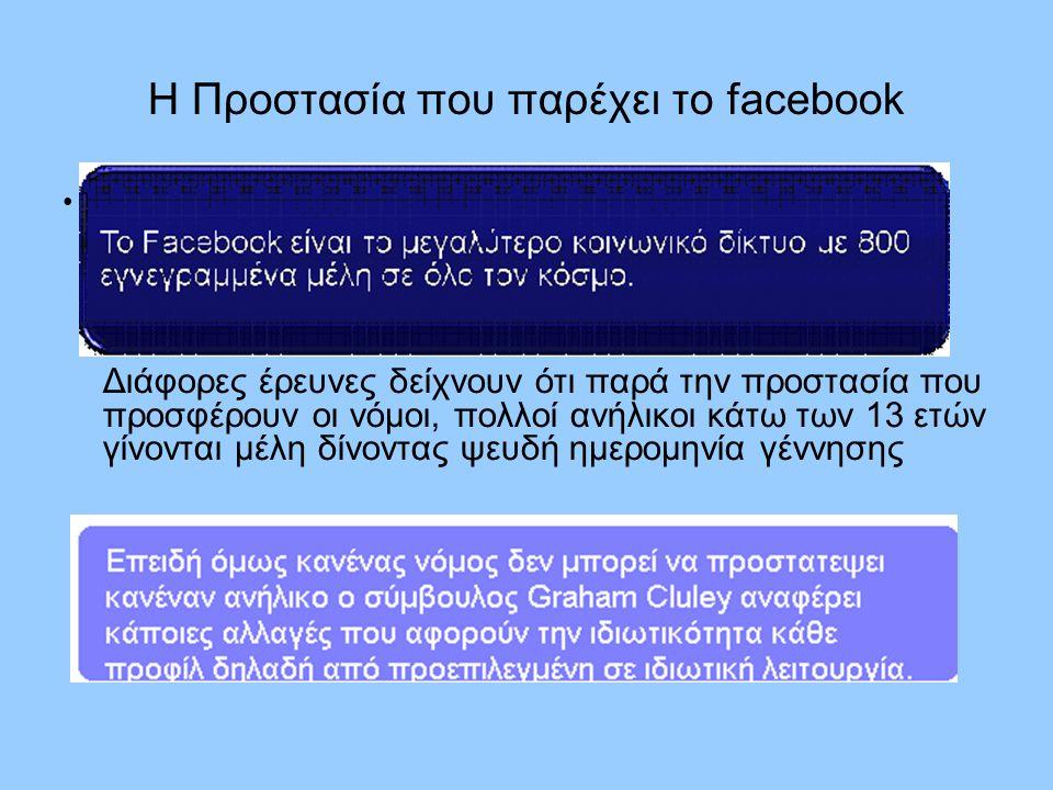 Η Προστασία που παρέχει το facebook Διάφορες έρευνες δείχνουν ότι παρά την προστασία που προσφέρουν οι νόμοι, πολλοί ανήλικοι κάτω των 13 ετών γίνοντα