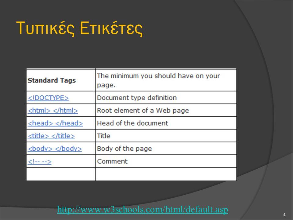 Τυπικές Ετικέτες 4 http://www.w3schools.com/html/default.asp