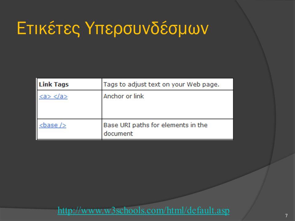 Ετικέτες Υπερσυνδέσμων 7 http://www.w3schools.com/html/default.asp