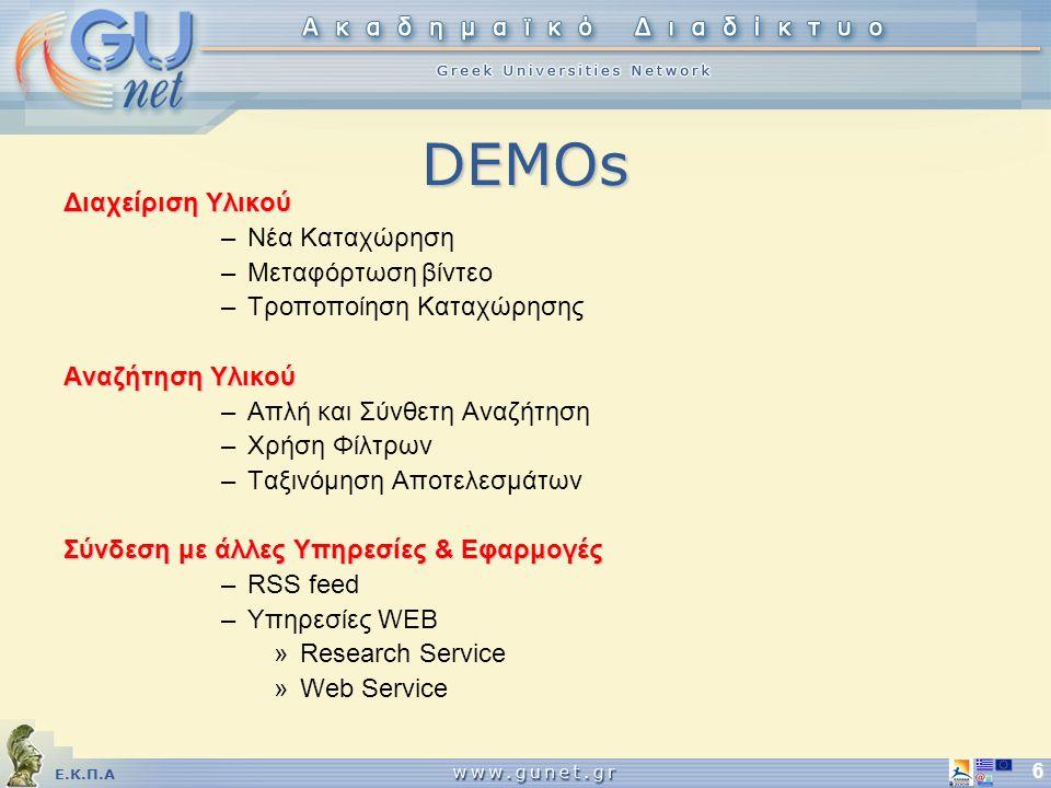 Ε.Κ.Π.Α 6 DEMOs Διαχείριση Υλικού –Νέα Καταχώρηση –Μεταφόρτωση βίντεο –Τροποποίηση Καταχώρησης Αναζήτηση Υλικού –Απλή και Σύνθετη Αναζήτηση –Χρήση Φίλτρων –Ταξινόμηση Αποτελεσμάτων Σύνδεση με άλλες Υπηρεσίες & Εφαρμογές –RSS feed –Υπηρεσίες WEB »Research Service »Web Service