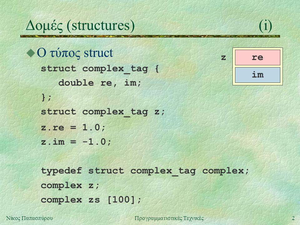 2Νίκος ΠαπασπύρουΠρογραμματιστικές Τεχνικές Δομές (structures)(i) u Ο τύπος struct struct complex_tag { double re, im; }; struct complex_tag z; z.re = 1.0; z.im = -1.0; typedef struct complex_tag complex; complex z; complex zs [100]; re im z